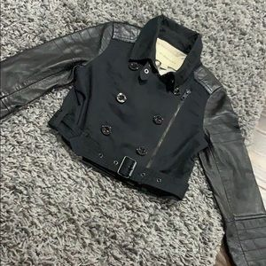 Girls Burberry jacket with leather sleeves